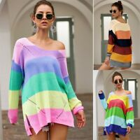 Women Long Sleeve Rainbow Stripe V Neck Blouse Knit Sweater Loose Tops Pullover