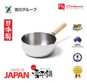 Yoshikawa Yukihira Saucepan 18cm with Lid - Made in Japan (Stainless Steel Embos