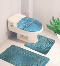 BANDED BATHROOM BATH MAT SET ABSORBENT NON-SLIP BACKING RUGS SET 3PC #10 AQUA