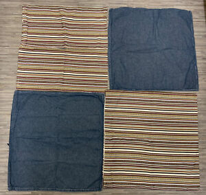4x IKEA 50x50 Cushion Covers  Denim Blue Stripes Ormkaktus Elvilda Natural Style