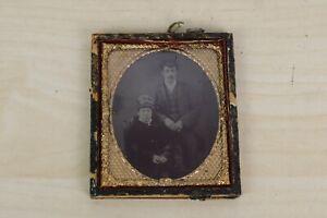 Antique Victorian Daguerreotype Photograph of a couple People Portrait 9.5X8.5cm