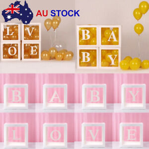 4 PCS/Set LOVE & BABY Balloons Box Cube Clear Gift Boxes Birthday Shower Party