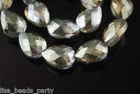 10pcs 18mm Faceted Crystal Glass Teardrop Charms Beads Finding Yellow Green