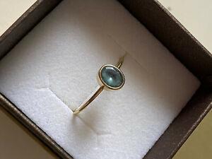 Gabriella Kiss 18K Aquamarine Ring Yellow Gold Flaw