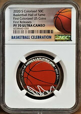 2020-S Basketball Hof Colorized Proof Half Dollar, Ngc Pf70 Uc, First Release