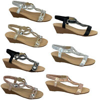 Ladies Wedge Sandals Womens Diamante Sling Back Open Toe Shoes Summer Fashion