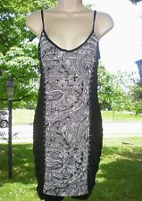 Entry Sexy Black Paisley Studded Ruched Stretchy Uneven Hem Dress LARGE