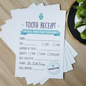 Tooth Fairy Receipt (Pack of 5 cards)