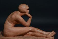 Statue Ancienne  Art Deco Femme Nue Pensive Antinéa Terre Cuite Guiraud Rivière