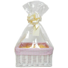DIY Make Your Own Baby Girl Gift Hamper Set - Wicker Basket, Shred, Cello, Bow