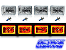 "4X6"" Amber SMD LED Halo Crystal Glass/Metal Headlight Light Bulb Headlamp Set"
