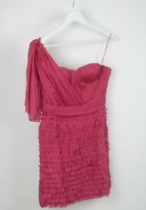 RRP€353 MATTHEW WILLIAMSON 12 UK ~LARGE Silk Frayed One Shoulder Dress 5739 mm