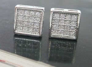 REAL sterling silver PAVE cz square studs earrings - 925 STAMPED - men women
