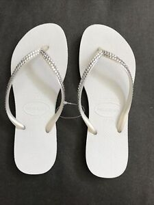 Crystal Flip Flops SLIM Made with Swarovski Crystals 39/40 White SECONDS