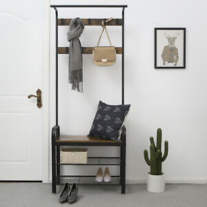 Hall Tree Hat and Coat Stand Hallway Shoe Rack Bench with Shelves Hooks HSR40B