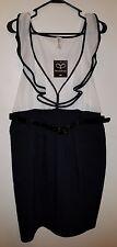 Black & White Chiffon Ruffle Dress, Black & White, Deep V Neck  PacficPlex