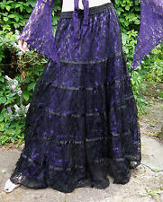 Dark Star Gothic Purple Satin & Lace Tiered Skirt Victorian Witch Gypsy Freesize