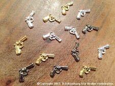 Overlay 1 Stück Gun Pistolen für extravagantes Nageldesign in SILBER Metall NEU