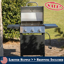 Stainless Steel 3 Burner Gas Grill Propane BBQ Barbecue Deck Patio Fry Cooker