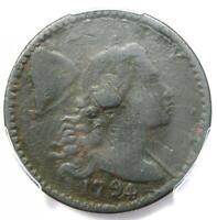 1794 Liberty Cap Large Cent 1C Coin S-63 - PCGS Fine Details- Rare Coin!