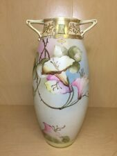 Antique Hand Painted Nippon Moriage Morning Glory Vase Art Deco Floral Pink Blue