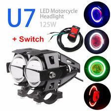 2x  U7 Angel Devil Eye Light 125W Motorcycle LED Fog Spotlight HeadLight IDM