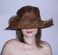 Womens Kentucky Derby Wide Brim Wedding Church Occasional Organza Sun Hats A002