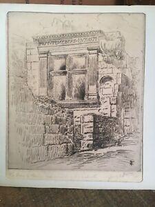 Gravure : Les Baux de Provence, Croix monumentale... FERRIERE DE BRECOR. 1921