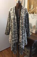 Joan Vass Studio Woman 3x Black & White Cascading Cardigan, NWT FAB!