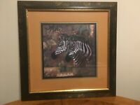 "Home Interior Zebra framed wall picture no flaws  18"" x18"""