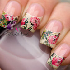 Chiodi Wraps Nail Art Acqua trasferimento Decalcomanie FRANCESE OLD ENGLISH ROSE NAIL TIPS 72