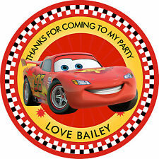 "30 x Personalised Disney cars Mc queen 50mm 2""  Party Stickers thank you labels"