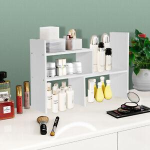 Counter-top Table Wooden Rack Bookshelf Display Shelf Organizer Adjustable
