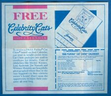 Purina Cat Chow Advert. Insert For Free Celebrity Cats 1988 Calendar