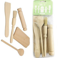 Kids Utensil Set Kitchen Brush Wooden Rolling Pin Baking Cook Spatula Beech Wood