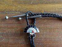 Vintage Zuni Sun Face Multi-Stone Inlay Sterling Silver Bolo Tie