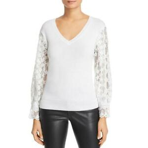 Le Gali Doloris Women's Lace Sleeve V-Neck Pullover Sweater