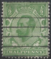 "Great Britain Stamp - Scott #153/A80 1/2p Yellow Green ""George V"" Canc/Lh 1912"