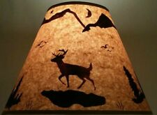 "DEER LAMP SHADE RUSTIC PARCHMENT PAPER 12"" CLIP ON LODGE LOG CABIN HUNTER DECOR"