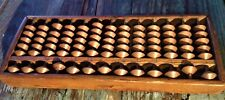 ANTIQUE SOROBAN GENUINE JAPANESE WOOD ABACUS with COLUMN CARVED NUMBERS