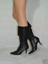 Women Black Mid Calf Boots Turned Over Real Leather upper/inner Gianni Size 5
