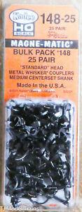Kadee HO Scale #148-25 Bulk Pack - 25 pair #148 Whisker® Metal Couplers - Medium
