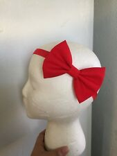 Red~Fabric~Baby~Girl~Hair Bow~Headband