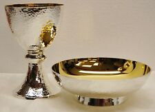 SILVER AND GOLD PLATED HAMMERED CHALICE / COMMUNION CUP  WITH BOWL PATEN.