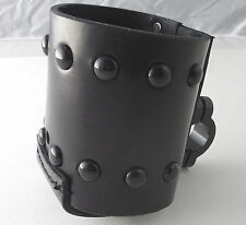Motorcycle Handlebar Leather Black Studded Cup Holder/Bottle Holder (Black Studs