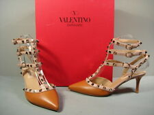VALENTINO CARAMEL LEATHER ROCKSTUD ANKLE STRAP POINT TOE MED HEELS SHOES 37 NEW