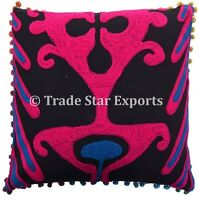 "Indian Uzbek Suzani Cushion Cover 16""x16"" Square Embroidered Throw Pillow Cases"