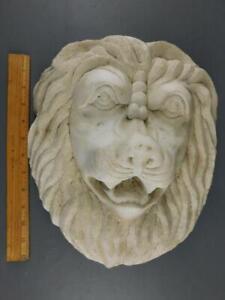 ANTIQUE ARCHITECTURAL HAND CARVED LION PEDIMENT 12.5'' X 11'' X 5'' DEEP 23lbs.