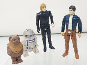Star Wars Figures Vintage han solo luke Ewok R2D2 Lot of 4