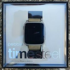 Pebble Time Steel Smartwatch for Apple/Android Devices - Gray